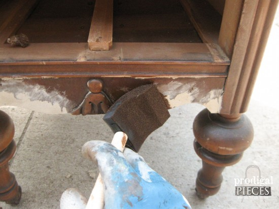 Applying Stain to Antique Vanity | Prodigal Pieces |www.prodigalpieces.com