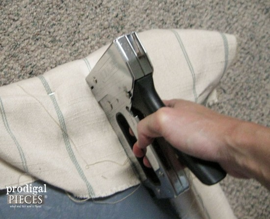 Stapling New Footstool Upholstery | Prodigal Pieces | www.prodigalpieces.com