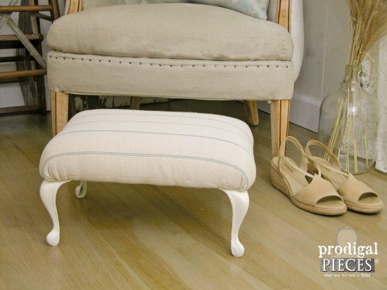 Grain Sack Style Footstool | Prodigal Pieces | www.prodigalpieces.com