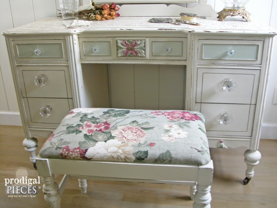 Rose Upholstered Antique Vanity Bench | Prodigal Pieces | www.prodigalpieces.com