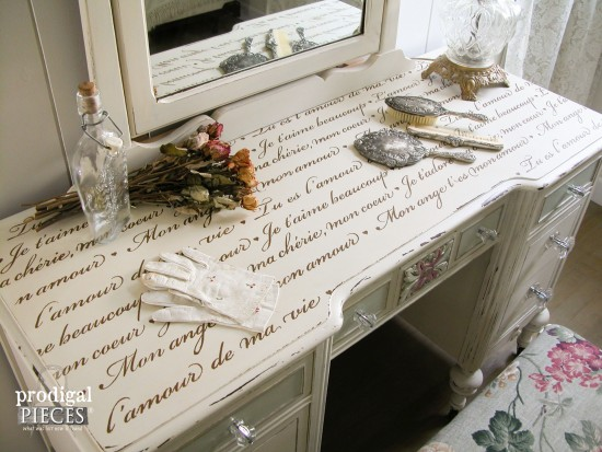 French Script Stenciling to Top of Antique Vanity | Prodigal Pieces | www.prodigalpieces.com