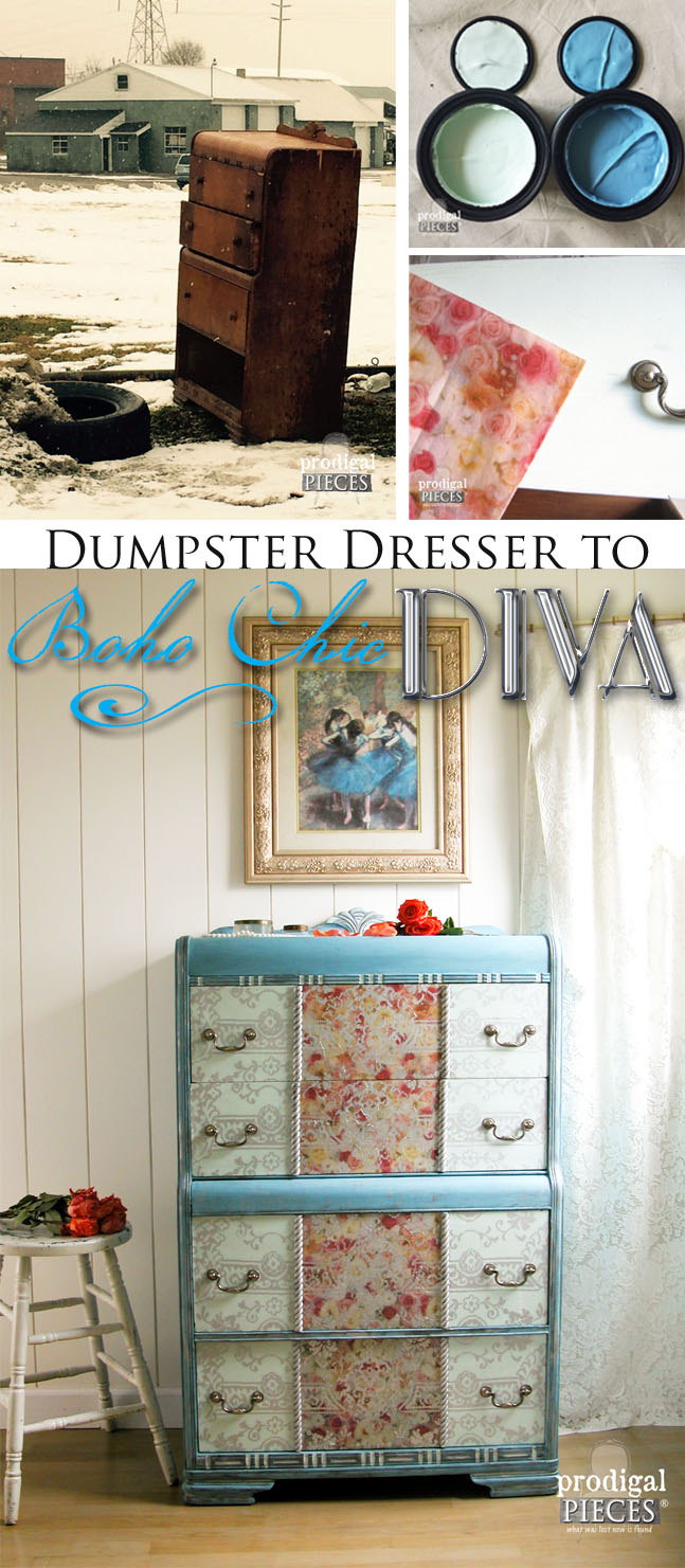 A left for trash dumpster dresser gets a makeover taking it from damsel in distress to Boho Chic DIVA. A must see makoever! by Prodigal Pieces www.prodigalpieces.com #prodigalpieces
