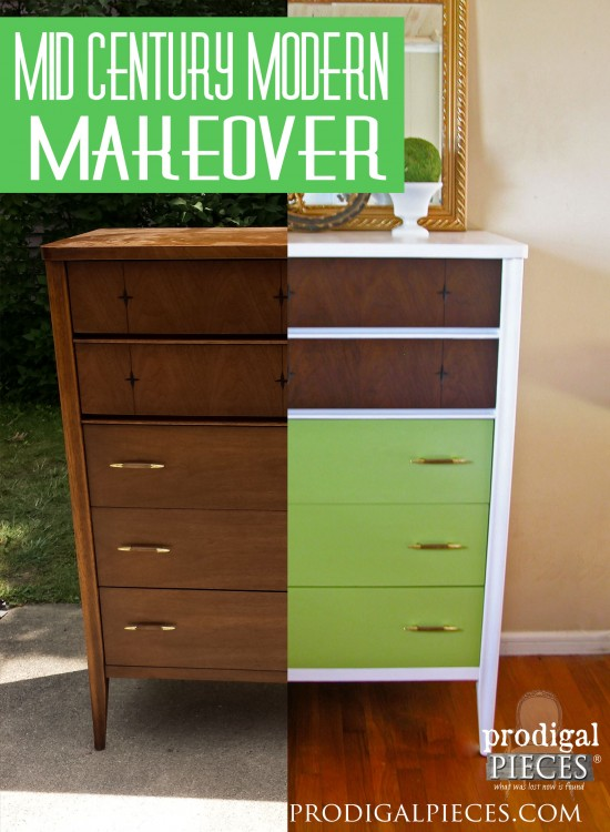 Mid Century Modern chest of drawers get a modern day update that gives it a funky new look by Prodigal Pieces | prodigalpieces.com