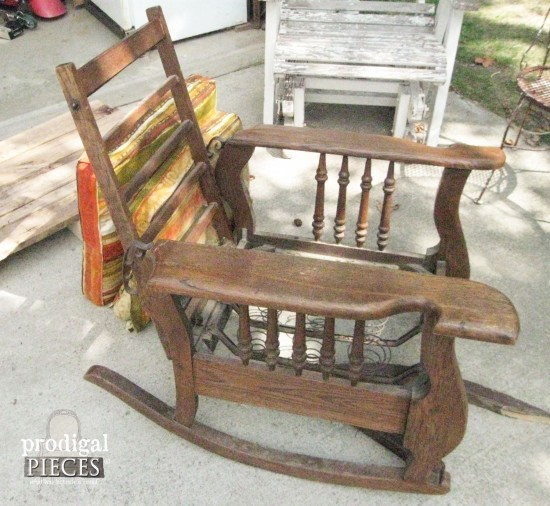 Antique Morris Rocker Before Upcycle | prodigalpieces.com