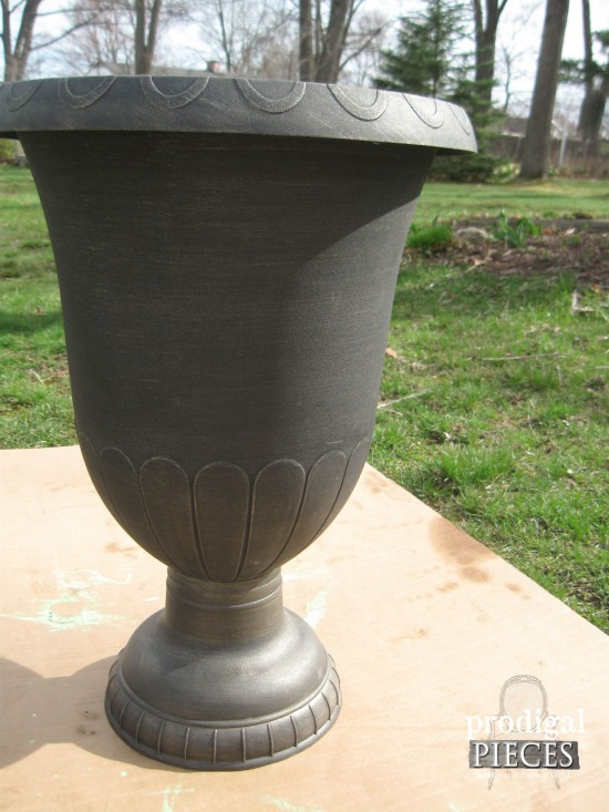 You can create a timeless faux zinc finish by only using paint. Come see the step-by-step DIY tutorial on how to achieve this look in a day by Prodigal Pieces www.prodigalpieces.com #prodigalpieces