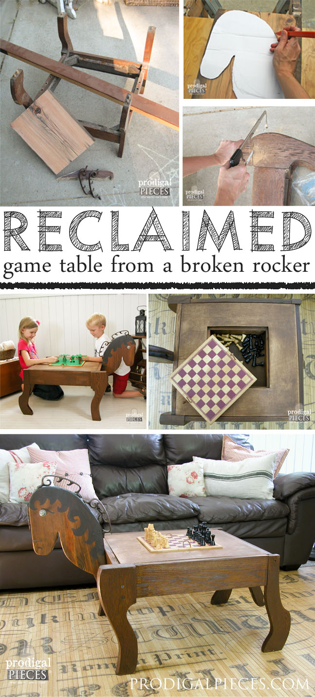An antique rocker base is the inspiration for this animal themed makeover. With recalimed barn wood and a pile of junk, it is now a junkified game table for Lego, chess, checkers...fun! by Prodigal Pieces | prodigalpieces.com #prodigalpieces