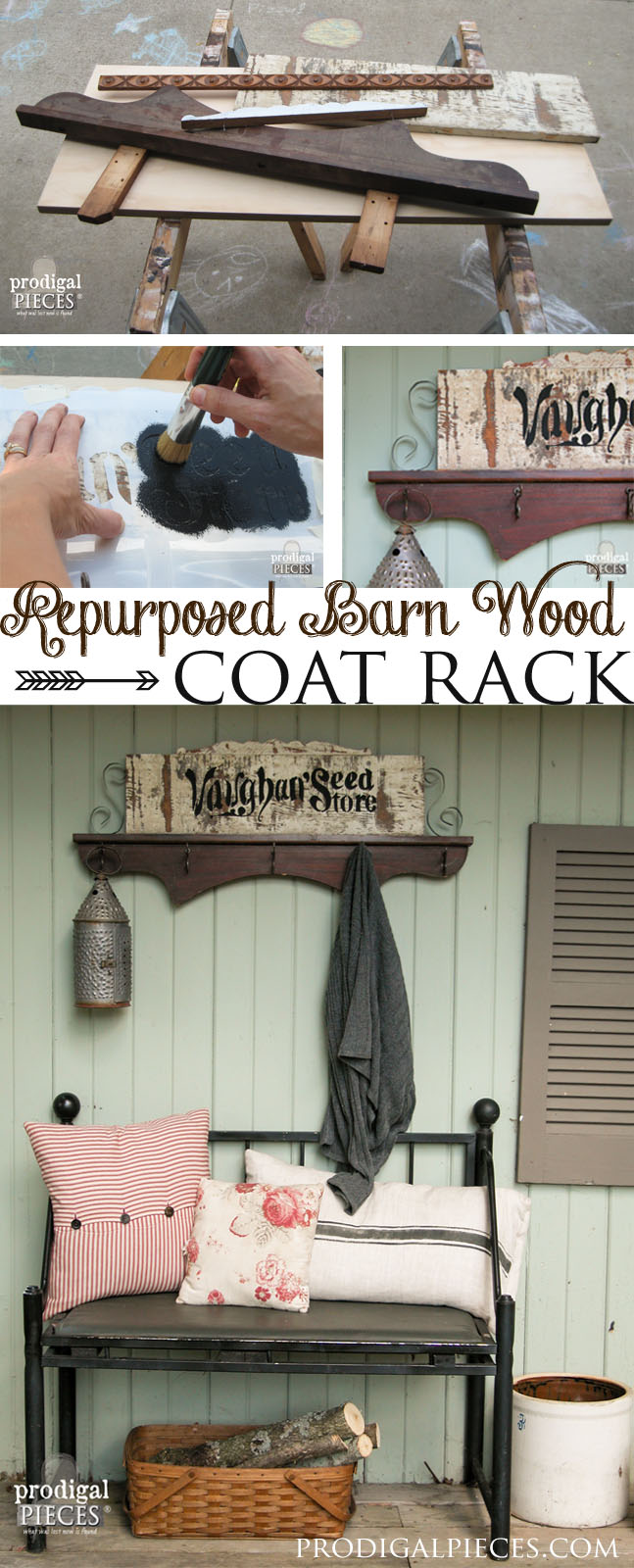 Create a repurposed coat rack using cast off barn wood and furniture pieces by Prodigal Pieces www.prodigalpieces.com #prodigalpieces