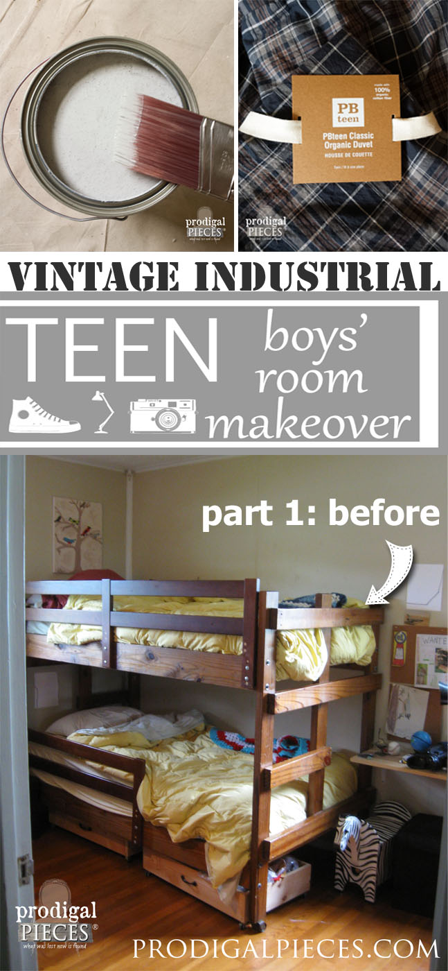 Boys Bedroom Makeover with Vintage Industrial Style for Teens by Prodigal Pieces | prodigalpieces.com