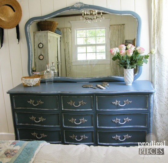 Lovely Outdated Craiglist scored French Provincial set gets a French country makeover with a beautiful blue by