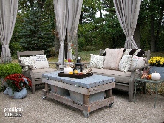 Popular This DIY patio design with pergola features a rustic and repurposed touches with a harvest table