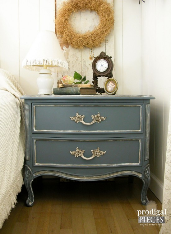 Outdated Craiglist scored French Provincial set gets a French country makeover with a beautiful blue by Prodigal PIeces. www.prodigalpieces.com #prodigalpieces