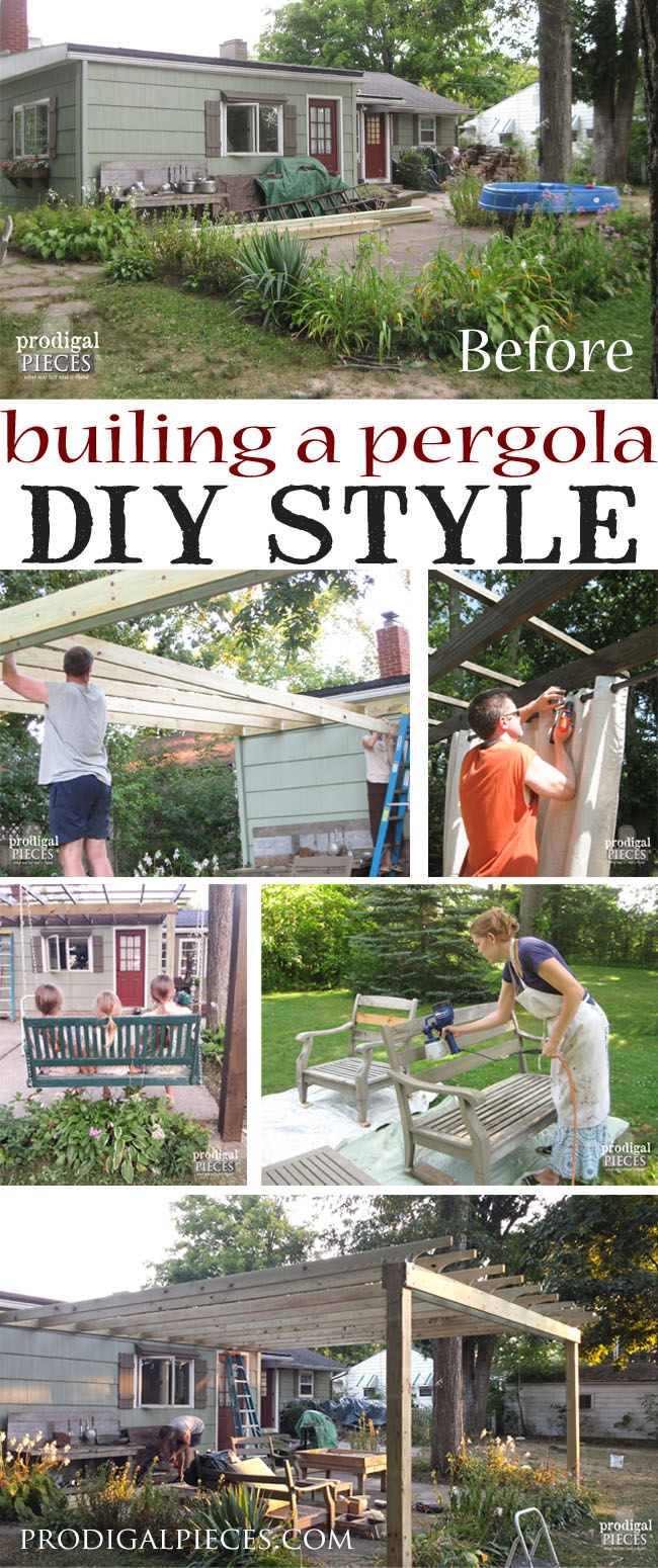 If You Give a Lady a Patio Set...this major patio makeover is the result of receiving a free patio set. With a DIY attitude, we're creating an outdoor room complete with pergola, dining, swing, and living room. Come see! by Prodigal Pieces | prodigalpieces.com