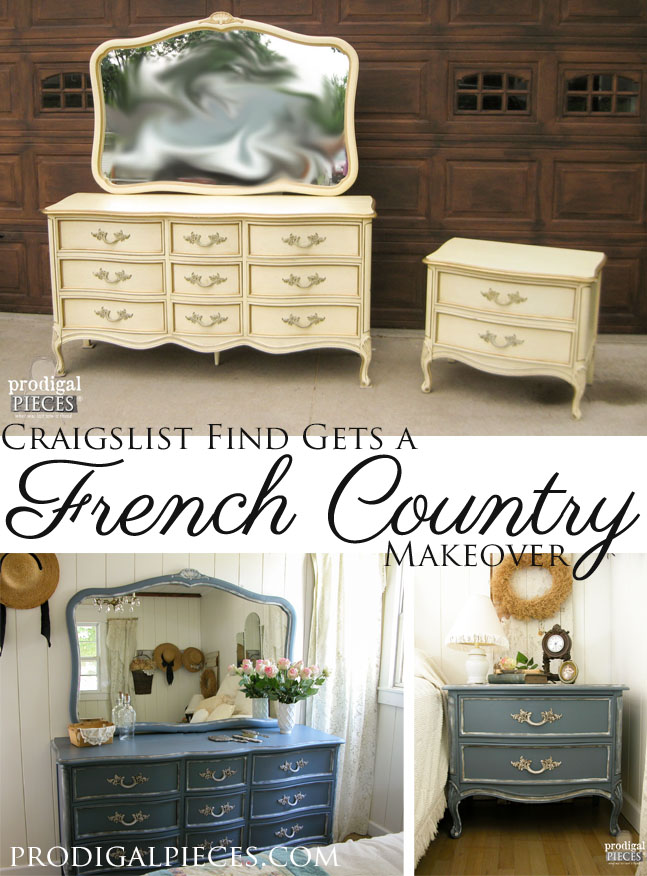 Outdated Craiglist scored French Provincial set gets a French country blue makeover with a beautiful blue by Prodigal Pieces. www.prodigalpieces.com #prodigalpieces