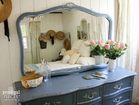 Beautiful Outdated Craiglist scored French Provincial set gets a French country makeover with a beautiful blue by