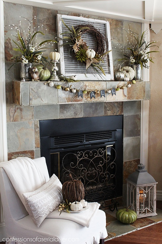 The Fall Ideas Tour Day One - Mantel Inspiration by Confessions of a Serial Do-It-Yourselfer via Prodigal Pieces.www.prodigalpieces.com #prodigalpieces
