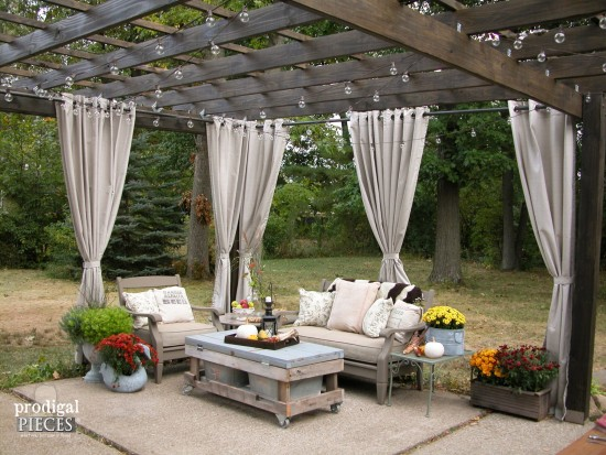 DIY Patio with Pergola and Repurposed Furniture | Prodigal Pieces | www.prodigalpieces.com