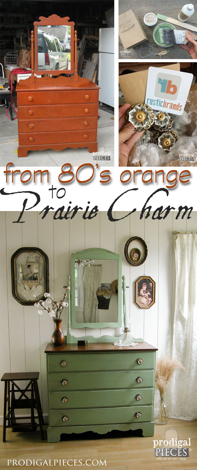 Goodbye 1980's orange and hellow prairie charm. An outdated dresser gets a new look with milk paint and pulls. Come see! by Prodigal Pieces | prodigalpieces.com