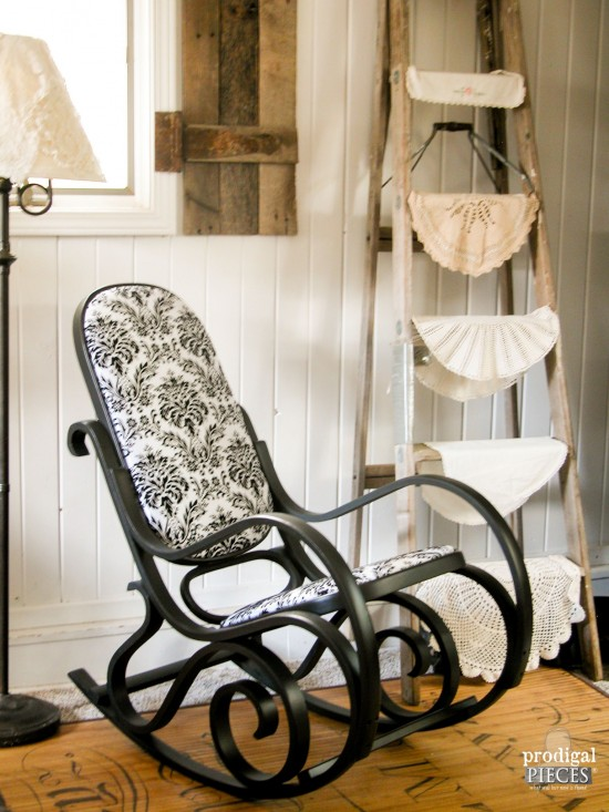 Beautiful Black Bentwood Rocker Chair with Damask Upholstery by Larissa of Prodigal Pieces | prodigalpieces.com