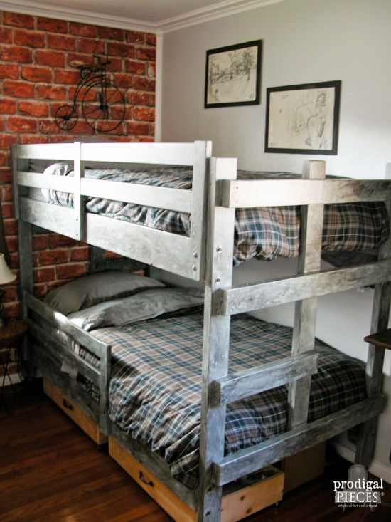 Simple A teen boys u room gets a vintage industrial makeover with faux brick wallpaper metal