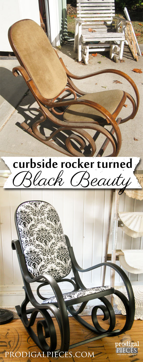 Curbside Bentwood Rocker turned Black Beauty by Prodigal Pieces | prodigalpieces.com