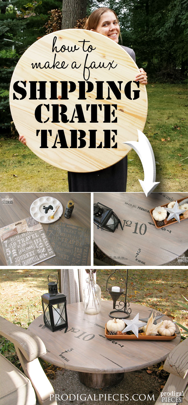 Create a faux industrial shipping crate table using a wood round from Home Depot and a tree stump. Get the DIY tutorial from Prodigal Pieces. www.prodigalpieces.com #prodigalpieces