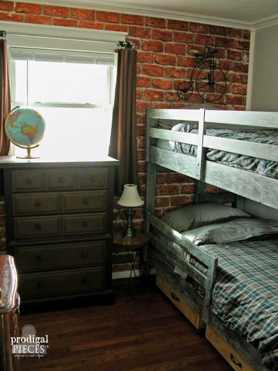 charming Vintage Boy Bedroom Part - 11: A teen boysu0027 room gets a vintage industrial makeover with faux brick  wallpaper, metal
