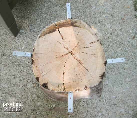 You can create a faux industrial shipping crate table using a wood round from Home Depot and a tree stump. Get the DIY tutorial from Prodigal Pieces. www.prodigalpieces.com #prodigalpieces table using a wood round from Home Depot and a tree stump. Get the DIY tutorial from Prodigal Pieces. www.prodigalpieces.com #prodigalpieces
