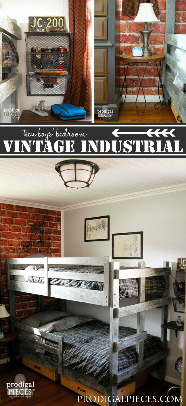 teen boys' room reveal ~ vintage industrial style - prodigal pieces