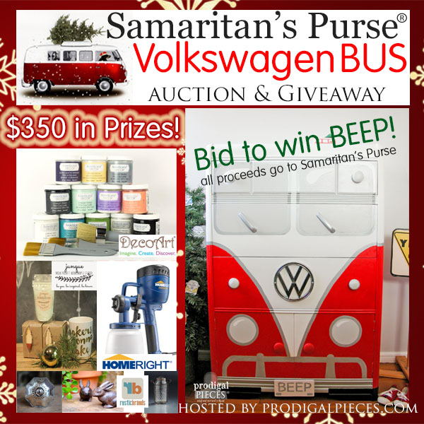 Get ready for your chance to WIN this custom chest of drawers turned Volkswagen Bus and enter to WIN $350 in prizes!! All proceeds go to Samaritan's Purse, so pin and share!! by Prodigal Pieces www.prodigalpieces.com #prodigalpieces