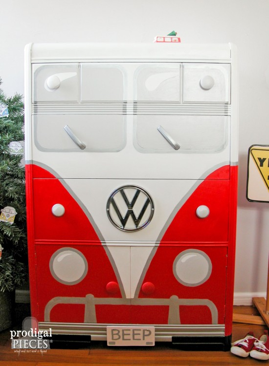 An Art Deco waterfall chest of drawers makes the perfect Volkswagen Bus. This time around it's all about that RED by Prodigal Pieces www.prodigalpieces.com #prodigalpieces