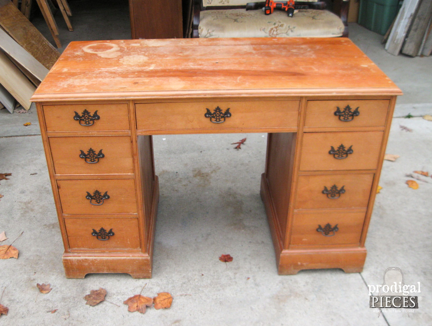 A Craigslist find vintage desk is worn-out and needing a lift. A teenage boy brings it back to being an vintage beauty by Prodigal Pieces www.prodigalpieces.com #prodigalpieces