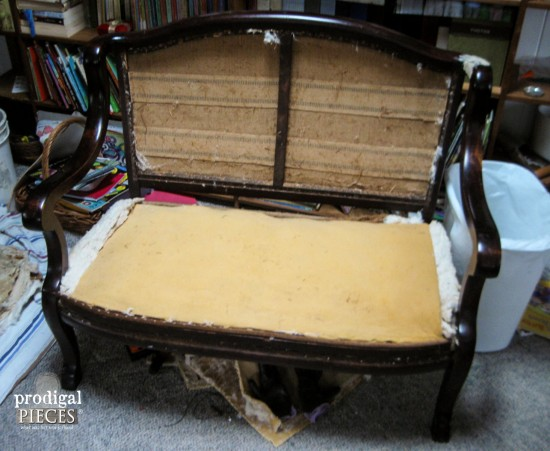 Antique Settee Ready for Makeover | Prodigal Pieces | www.prodigalpieces.com