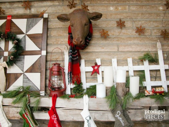 It's a rustic farmhouse Christmas in our house. From handmade stockings to the DIY wall quilt as a backdrop, it's all about family. Come see! by Prodigal Pieces www.prodigalpieces.com #prodigalpieces