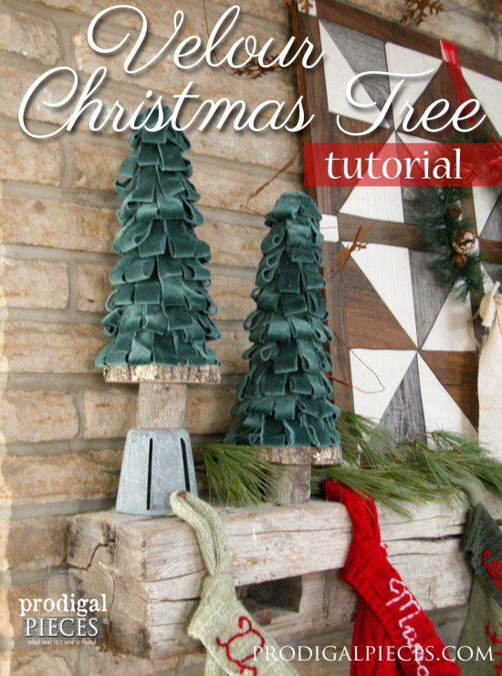 Create these beautiful velour Christmas trees using a few basic supplies and repurposed parts. Come get the DIY tutorial at Prodigal Pieces www.prodigalpieces.com #prodigalpieces