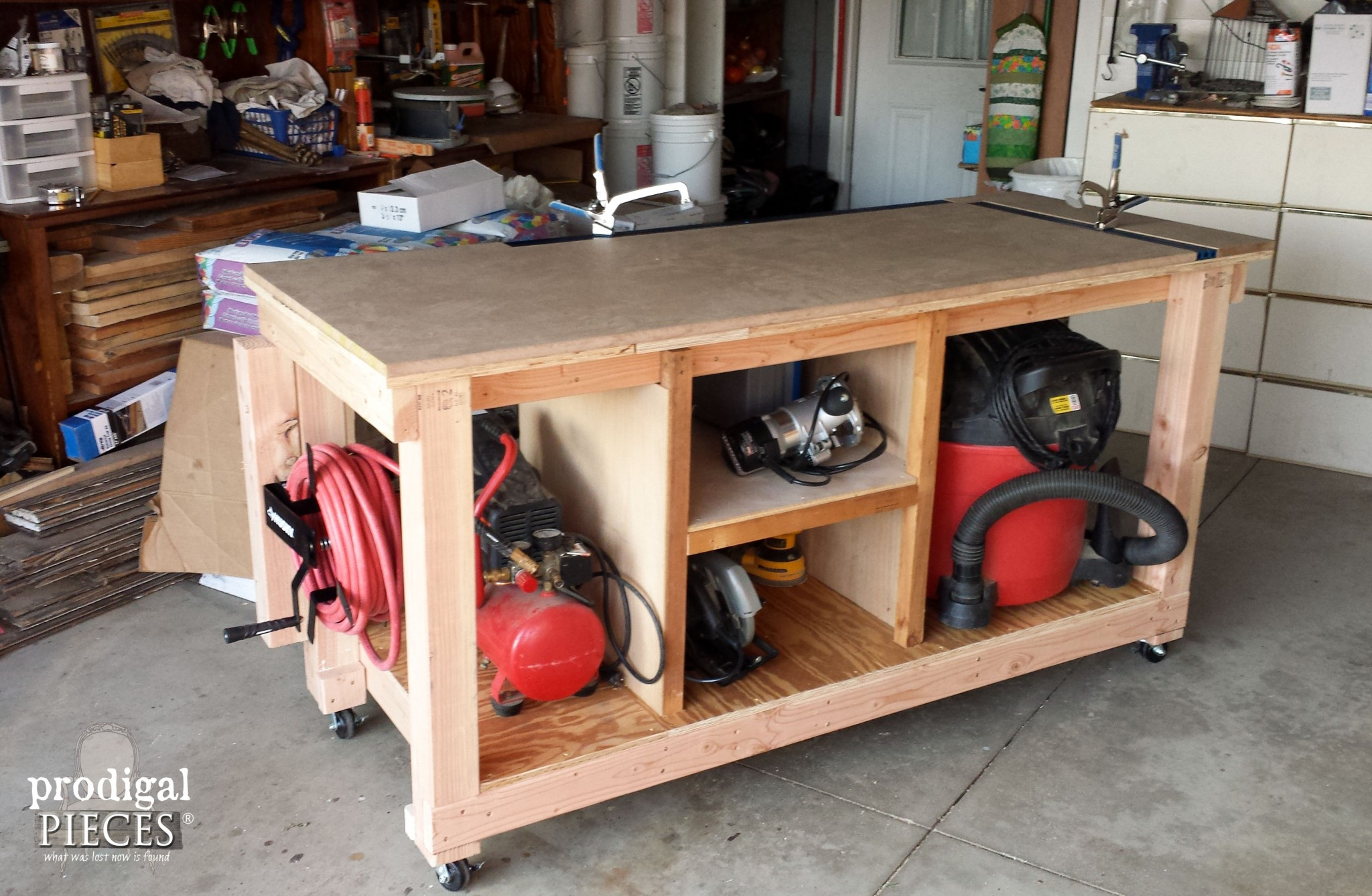 Back Side of DIY Workbench by Prodigal Pieces | www.prodigalpieces.com
