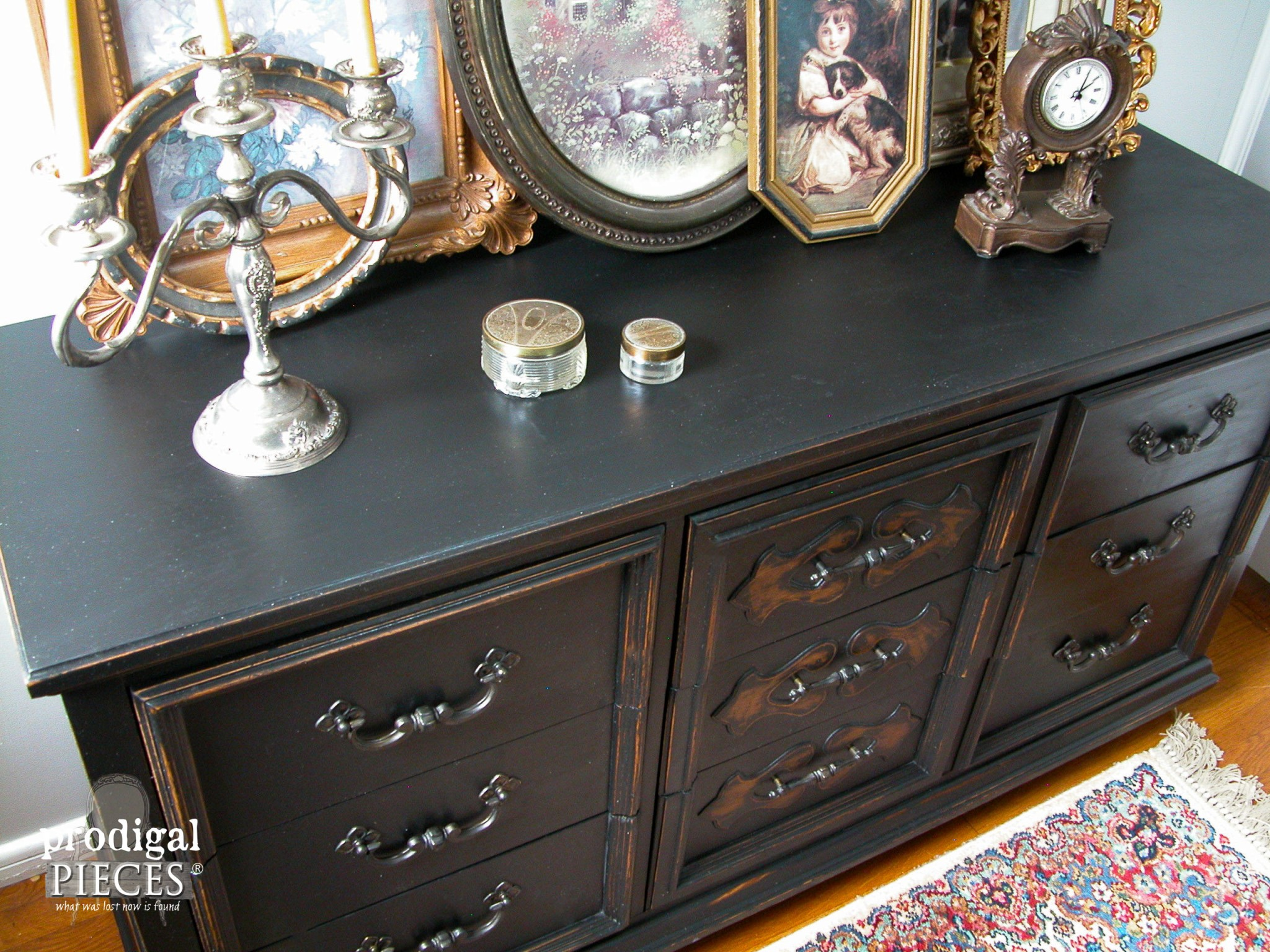 Top of Updated Mid Century Black Dresser | Prodigal Pieces | www.prodigalpieces.com