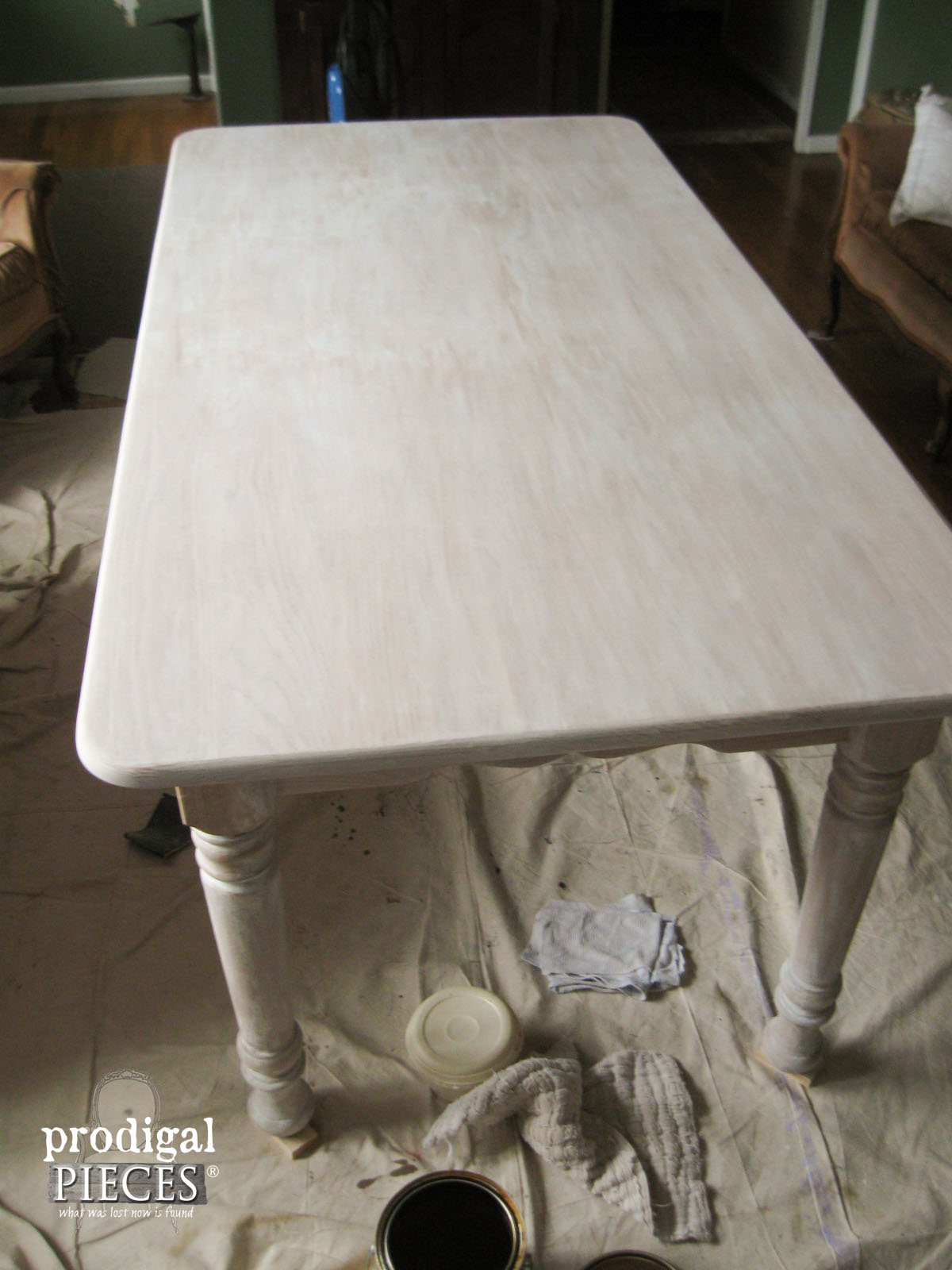 Whitewashed Farmhouse Table Before Waterlox Topcoat Prodigal Pieces Www Prodigalpieces