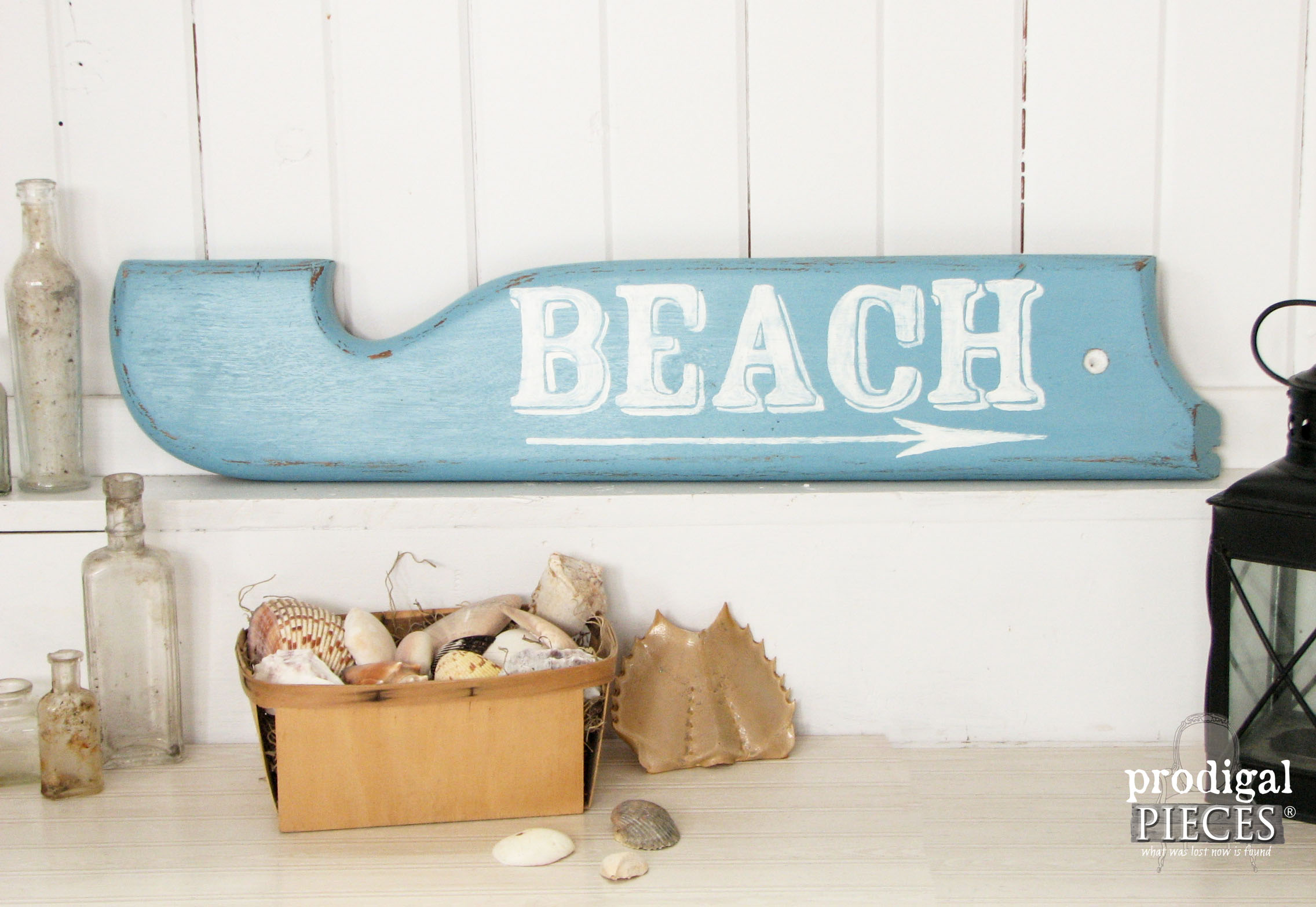 Repurposed Beach Directional Sign from Rocker Arm by Prodigal Pieces | www.prodigalpieces.com